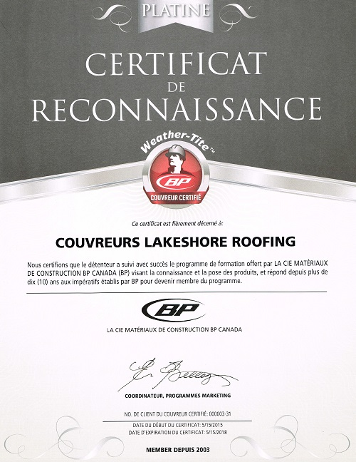 Roofing Montreal BP Platinum Certied Roofer